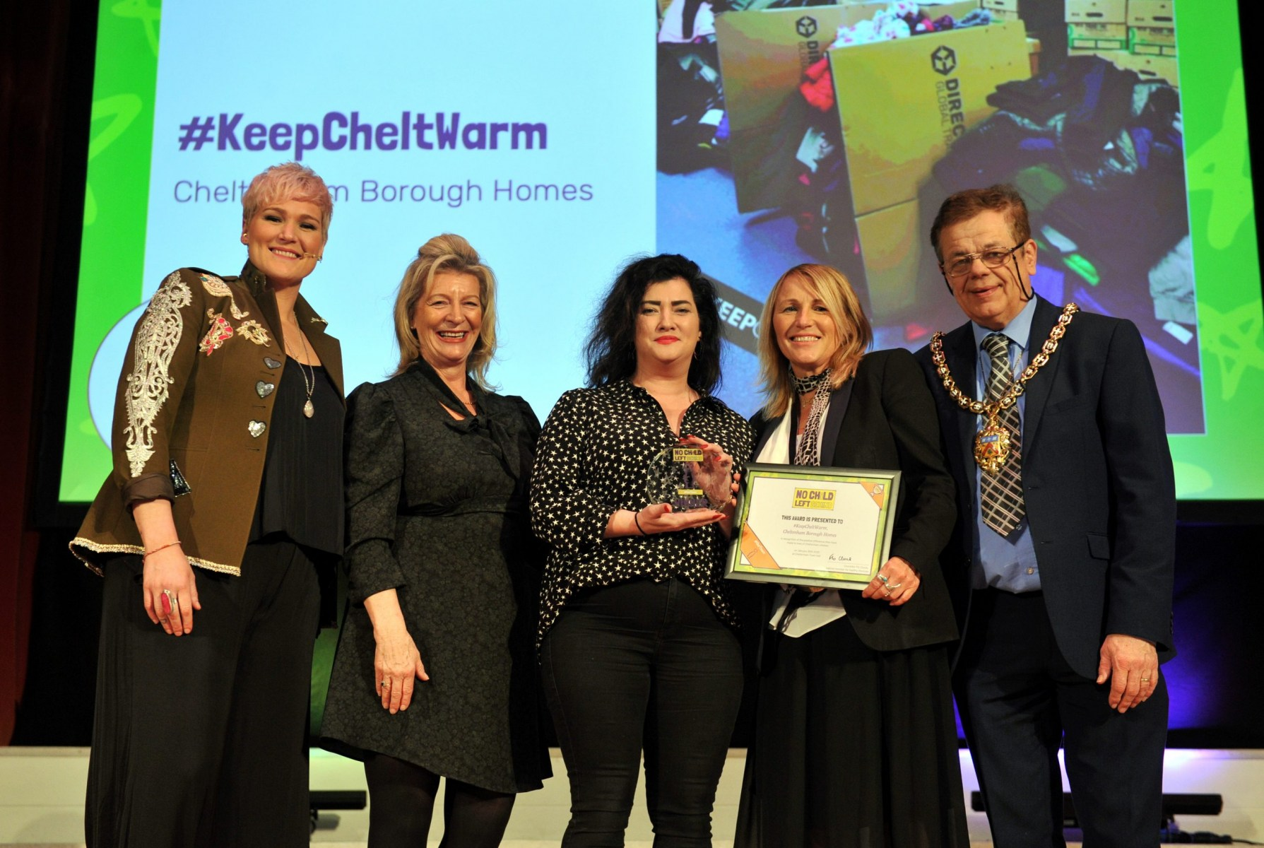 No Child Left Behind awards ceremony at Cheltenham Town Hall. Our Town Award presented by Councillor Roger Whyborn (Mayor) & Laurie Bell  (The Cheltenham Trust) to #KeepCheltWarm