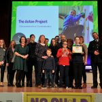 No Child Left Behind awards ceremony at Cheltenham Town Hall.   Positive Relationships Award presented by Louise Chipchase (Stowe Family Law) to The Aston Project