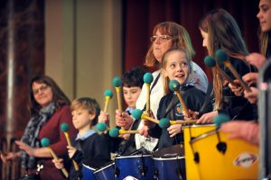 No Child Left Behind awards ceremony at Cheltenham Town Hall.  Oakwood School Samba Band