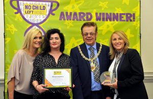 No Child Left Behind awards ceremony at Cheltenham Town Hall.   Our Town Award presented by Councillor Roger Whyborn (Mayor)  to