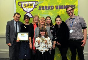No Child Left Behind awards ceremony at Cheltenham Town Hall.   Innovative Education Award from Chris Spencer (GCC Children's Services) and an & Ambassadors for vulnerable children and young people to  Cheltenham Libraries